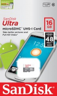SanDisk microSDHC 16GB Ultra Android UHS-I SDSQUNB-016G-GN3MN